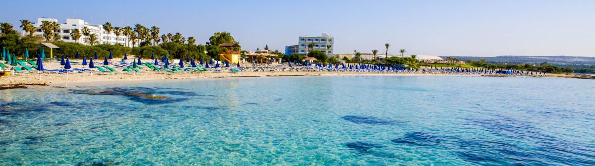 Beautiful clear blue sea at Macronissos Beach in Cyprus