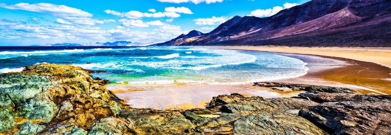 Rocky coast of the atlantic ocean at Fuerteventura