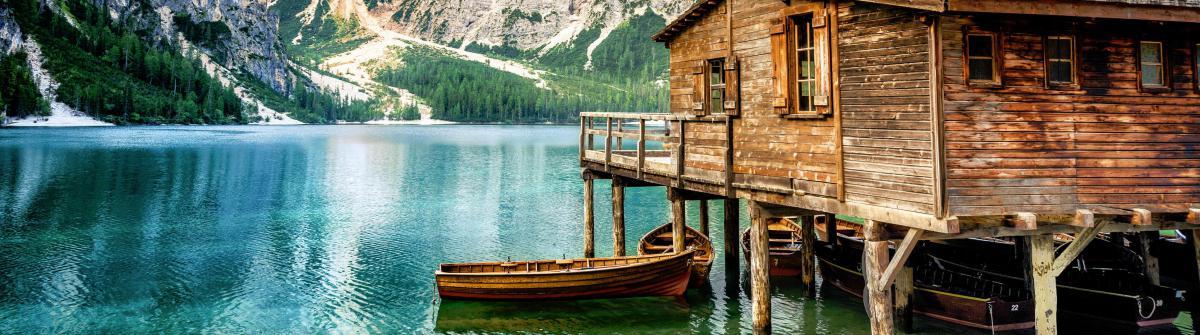Lake Braies (Pragsersee) in South Tyrol in Summer