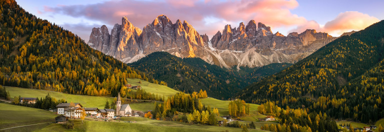 The idyllic Santa Maddalena in val di Funes, South Tyrol