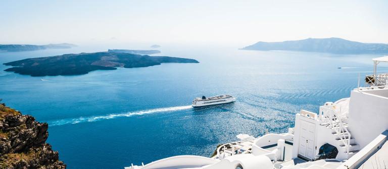White buildings on Santorini Island in Greece