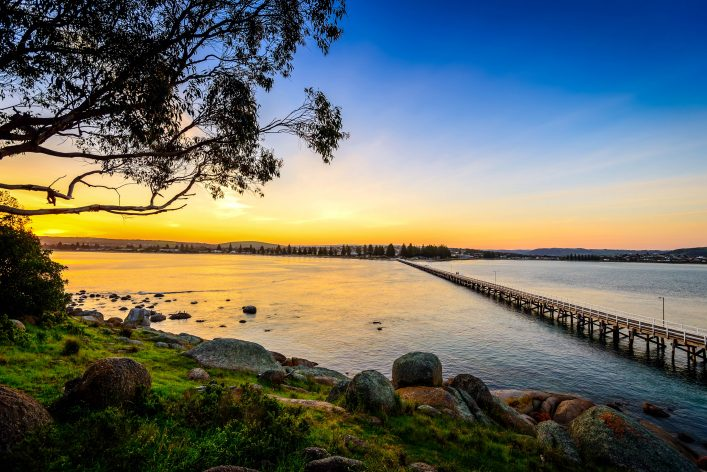 Sunset over the Victor Harbor, view from the Granite Island, South Australia shutterstock_453129697-2