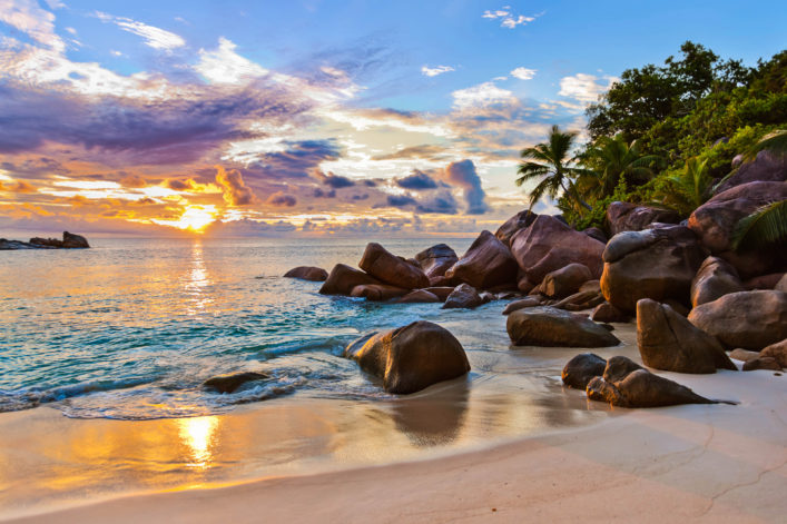 Seychelles tropical beach at sunset