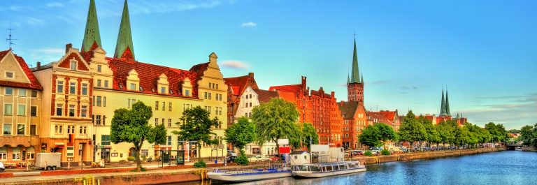 The Trave River in Lubeck – Germany, Schleswig-Holstein_shutterstock_519605452
