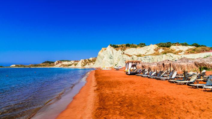 bunte Strände, Xi Beach, Kefalonia Griechenland