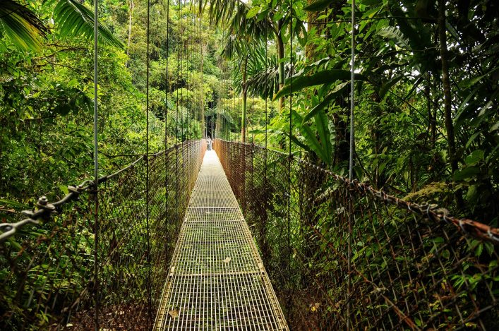 Hängebrücke im Nationalpark des Vulkans Arenal in Costa Rica.