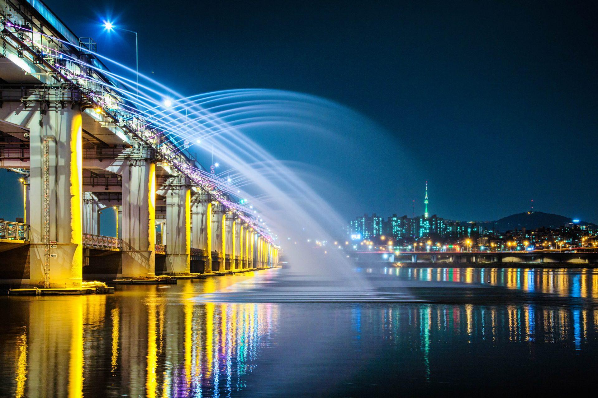 Seoul Tipps Banpo Brücke Regenbogen Wasserfall
