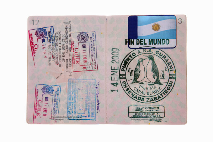 Reisepass Stempel Fin del Mundo Argentinien