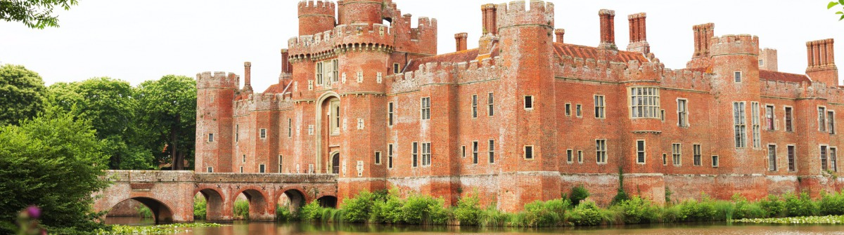 Hailsham, United Kingdom – July 16, 2015: Brick Herstmonceux castle