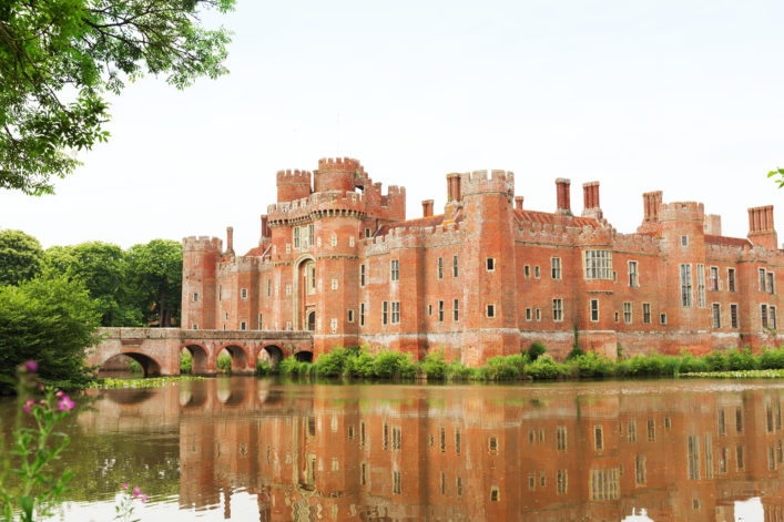 Hailsham, United Kingdom – July 16, 2015: Brick Herstmonceux castle