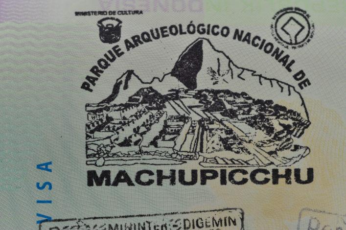 Machu Picchu Peru Reisepass Stempel