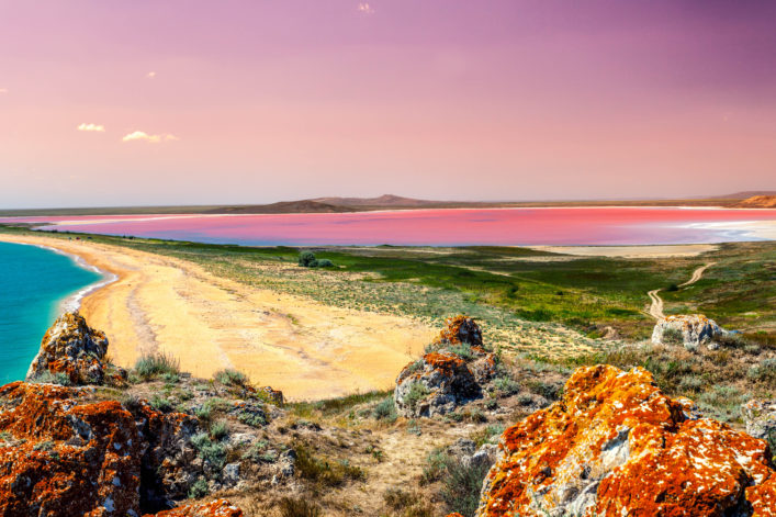 Panoramic view at Pink lake at sunset light shutterstock_456377227-2