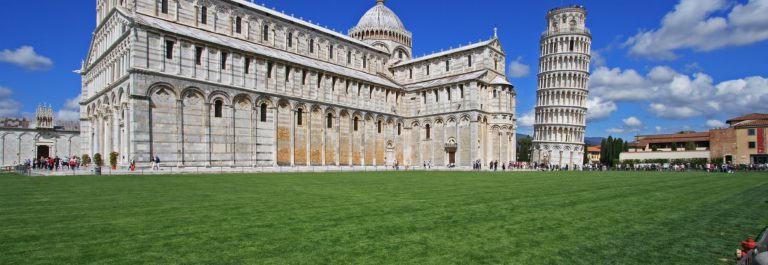 Pisa, Piazza dei miracoli, with the Basilica and the leaning tower_shutterstock_131704667