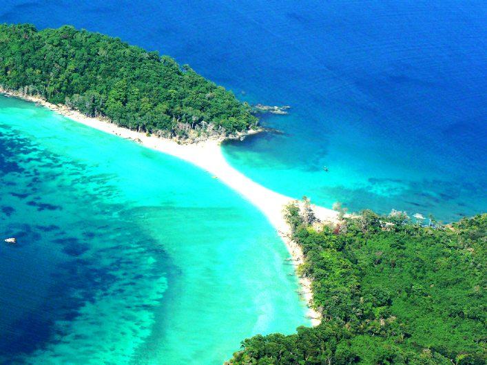 Aerial view of Cinque Island, Andaman.