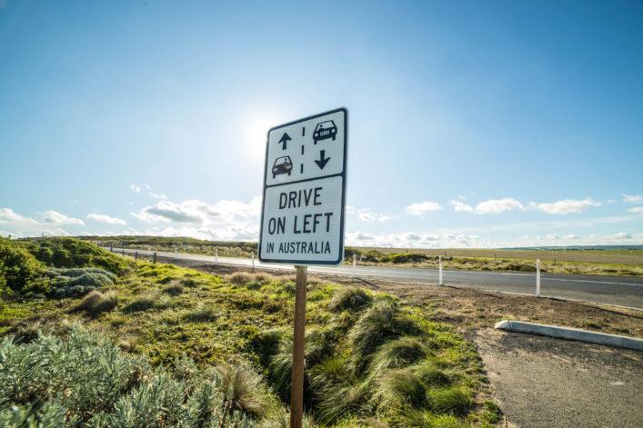 Drive on left Australia road sign