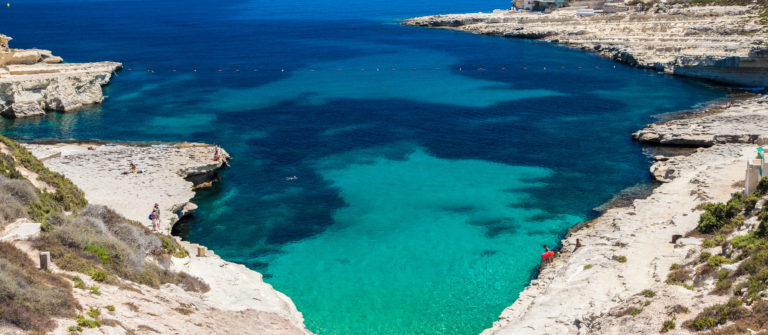 Rocky beach and blue sea
