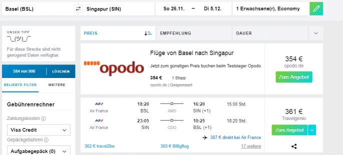 Singapur Flüge