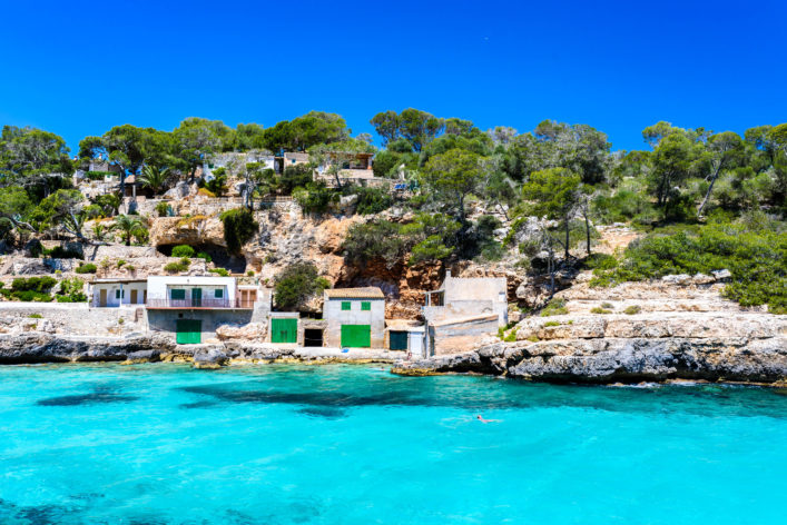 Cala Llombards – beautiful beach in bay of island Mallorca, Spain shutterstock_615112118-2