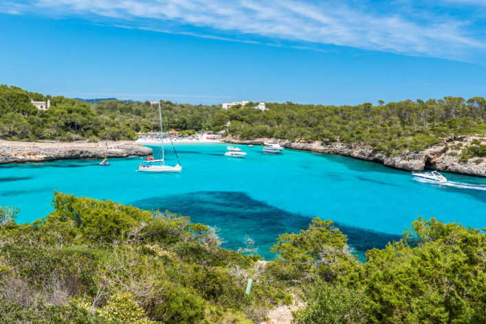 Sailing boats at Cala Mondrago – coast of Mallorca