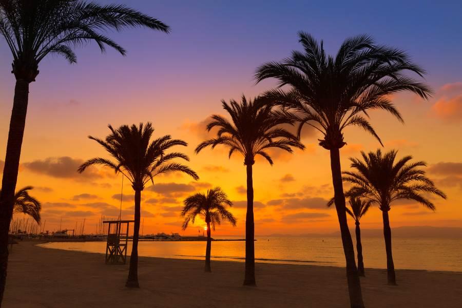 Sonnenuntergang am Strand von El Arenal auf Mallorca