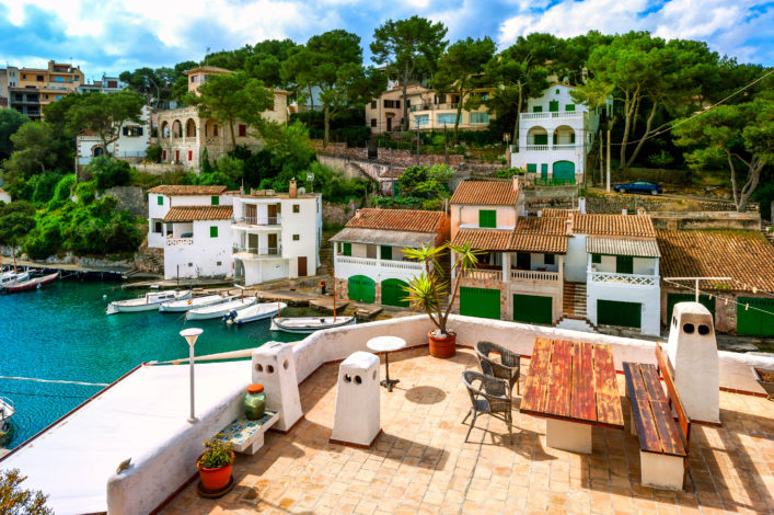 White villas and terrace in gulf of Cala Figuera, Mallorca, Spain shutterstock_114899965-2