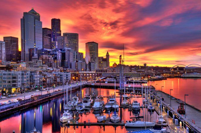 Dramatic Seattle skyline at dawn