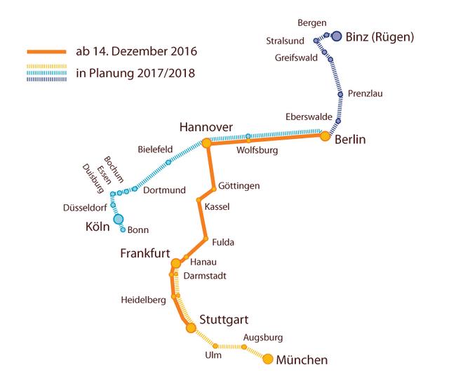 Locomore Streckennetz