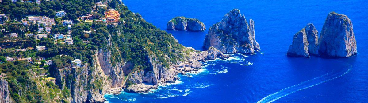 Capri panorama, Faraglioni, Tyrrhenian sea, Bay of Naples, Italy