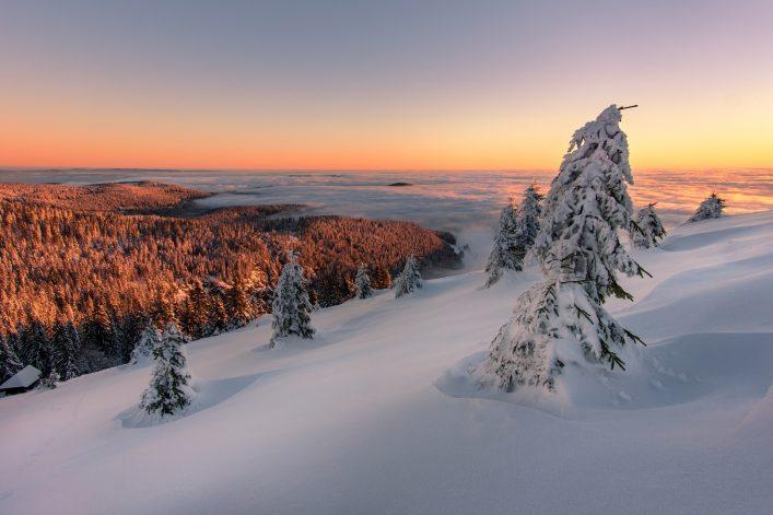 Sonnenaufgang an einem Wintermorgen im Schwarzwald