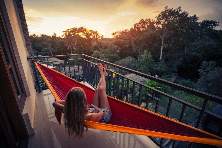 Urlaubsfeeling auf dem Balkon Hängematte