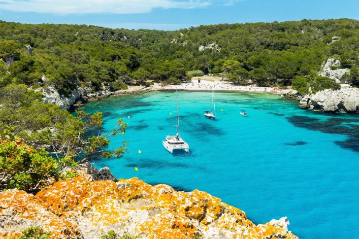 Cala Macarella beach at Menorca island, Spain