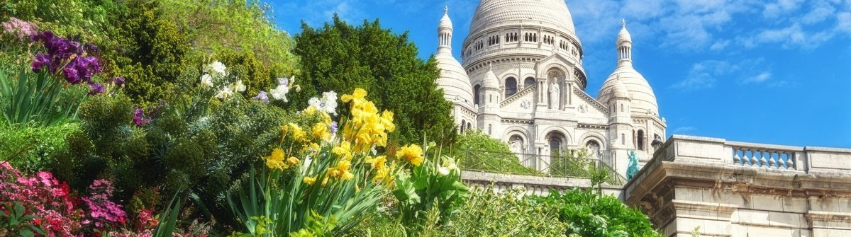 Sacre Coeur Cathedral in Paris, France, panoramic imaage