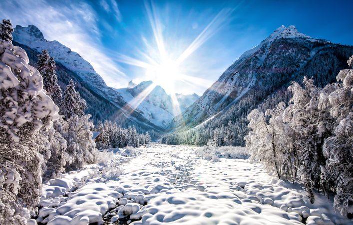 Polarlichter Sonne Schnee
