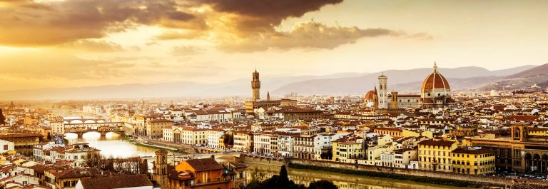 Cathedral and Ponte Vecchio on the Florence City Skyline Italy