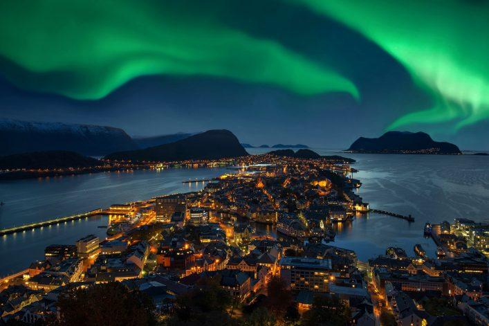 Polarlichter Stadt Nacht