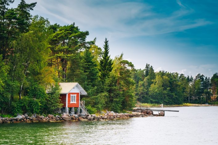 Red Finnish Wooden Bath Sauna Log Cabin In Summer