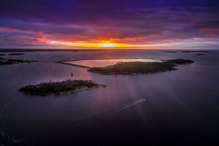 Aerial view of Baltic Sea in Sunset