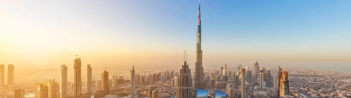 Burj Khalifa, Dubai Abenddämmerung iStock-914389406