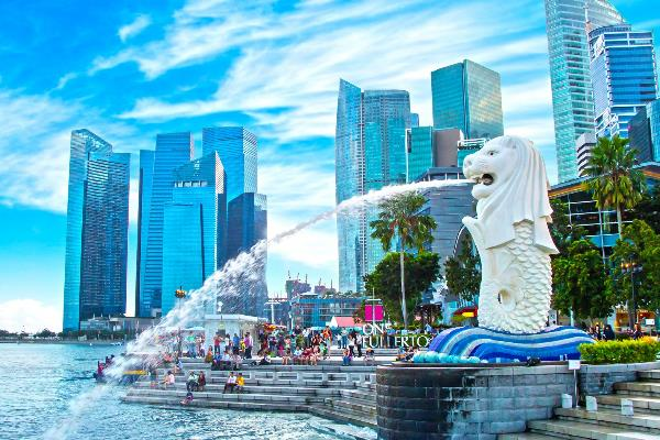 Statue des Merlion in Singapur