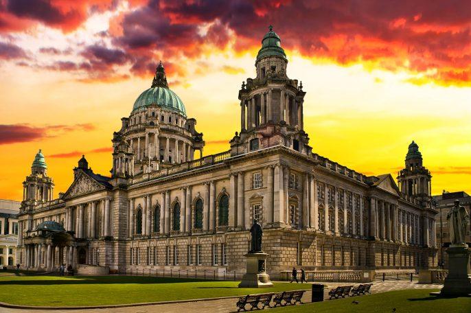 Sunset Image of City Hall, Belfast Northern Ireland