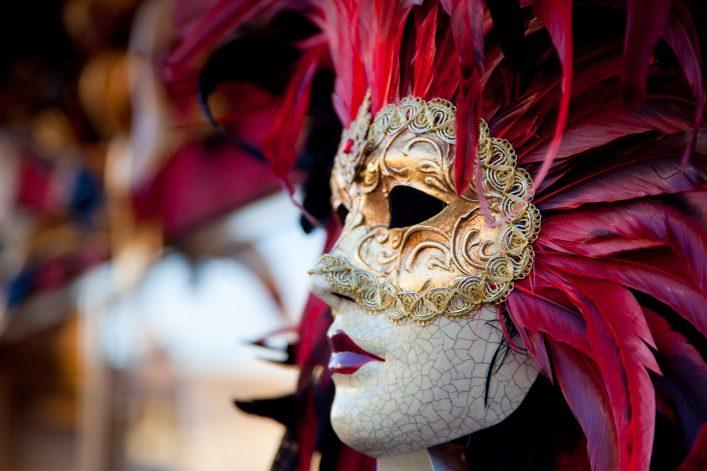 Venetian Red Carnival Mask, Venice, Italy