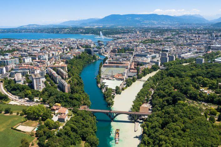 Brücke und Fluss in Genf