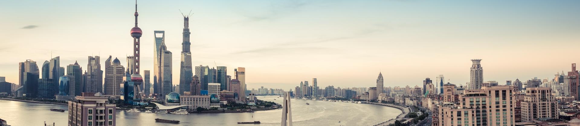 De skyline van Shanghai