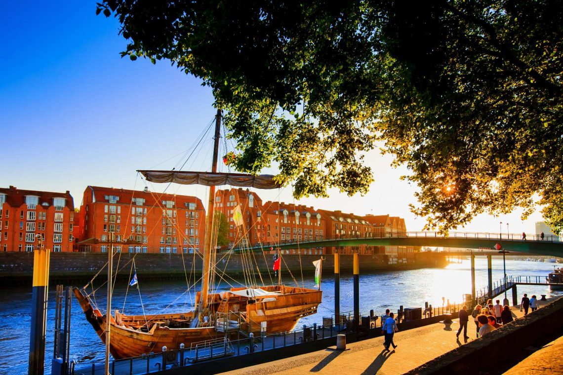Bremen seafront view sunset. Germany-view on the river Weser and sailboat in city Bremen_shutterstock_1036184218_klein