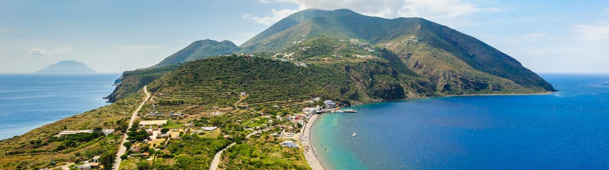 Filicudi and Salina on backgrouns, Aeolian Islands, Sicily, Italy shutterstock_249832093