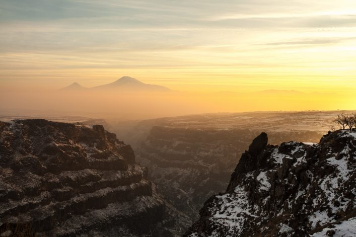 Panoramic view of Mount Ararat in Armenia with a beautiful gorge in the foreground shutterstock_645070000