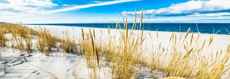 Sandy beach and sand dune over sea, summer landscape