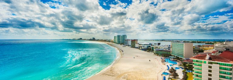 The Beach and Hotel District of Cancun Mexico