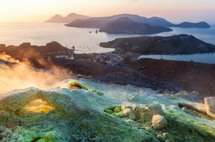 View from Vulcano island to Aeolian islands at sunset. Lipari archipelago, Sicily, Italy shutterstock_673529776