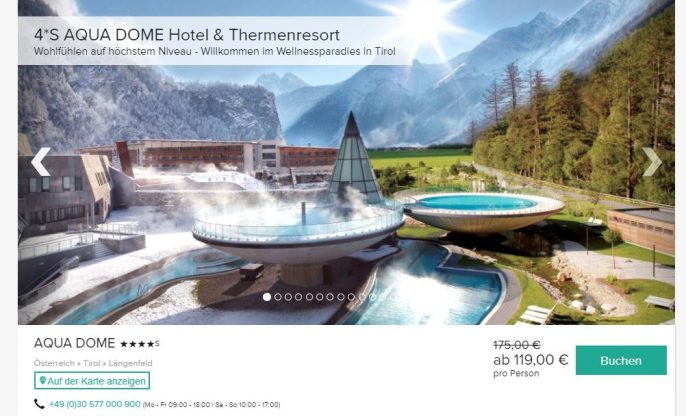 Aqua Dome Therme 3 Tage Inkl 4 5 Sterne Hotel F 252 R 119